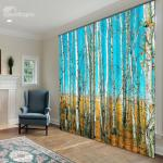 3D Birch Trees Curtains