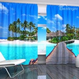 3D Beach View Drapes
