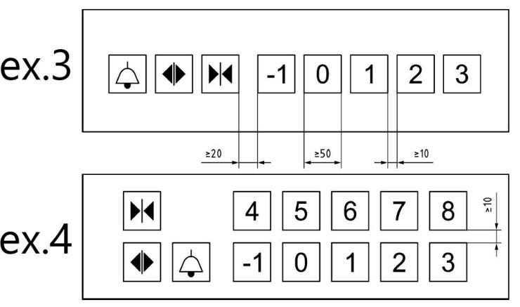 Hissknappar i rad och med händelseknappar placerade på samma rad.