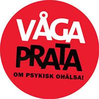 Rund röd knapp med texten Våga prata om psykisk ohälsa!