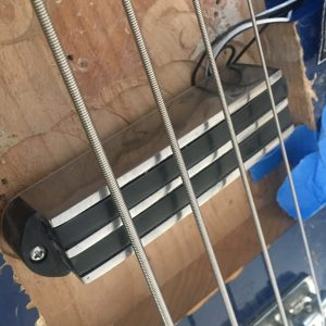 Funktronic neodymium sidewinder pickup prototype installed in the test bass
