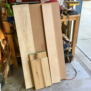 Wood pile destined to be a bass guitar - poplar, maple, MDF