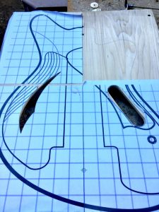 Cutting the sound hole and control cavity using printed templates