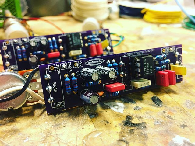 A pair of onboard preamps. One for me, one for someone else. #boutiquebasses #funktronicpickups #electronics #custombassguitar #boutiquebass #custombass #customguitarparts