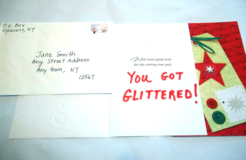 Holiday Card Glitter Bomb Prank Funky Delivery