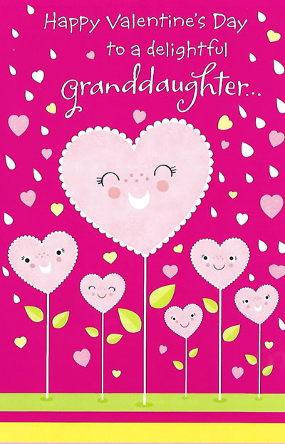 Happy Valentines Day To A Delightful Granddaughter Custom Card