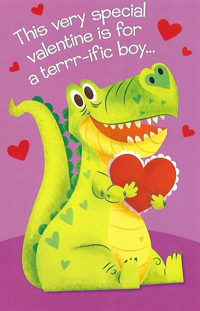 Valentine's Day Card for a Boy - Dinosaur Valentine Card