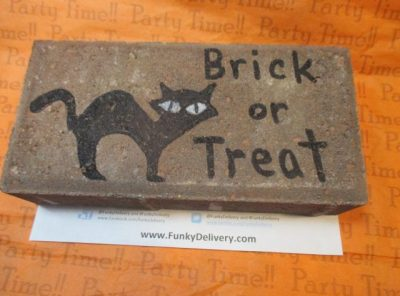 Brick or Treat Brick with Black Cat Drawn on it - Funky Delivery