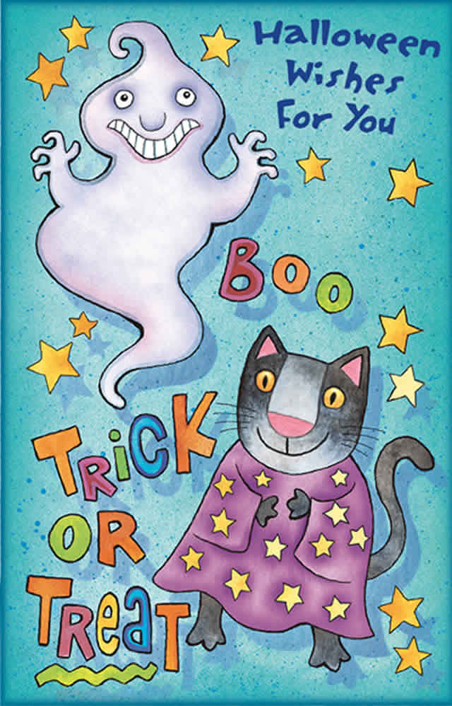 Halloween Wishes Greeting Card - Boo - Trick or Treat with Glitter Bomb Option