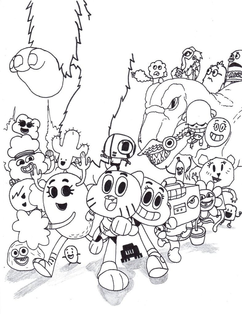 amazing world gumball characters coloring pages print