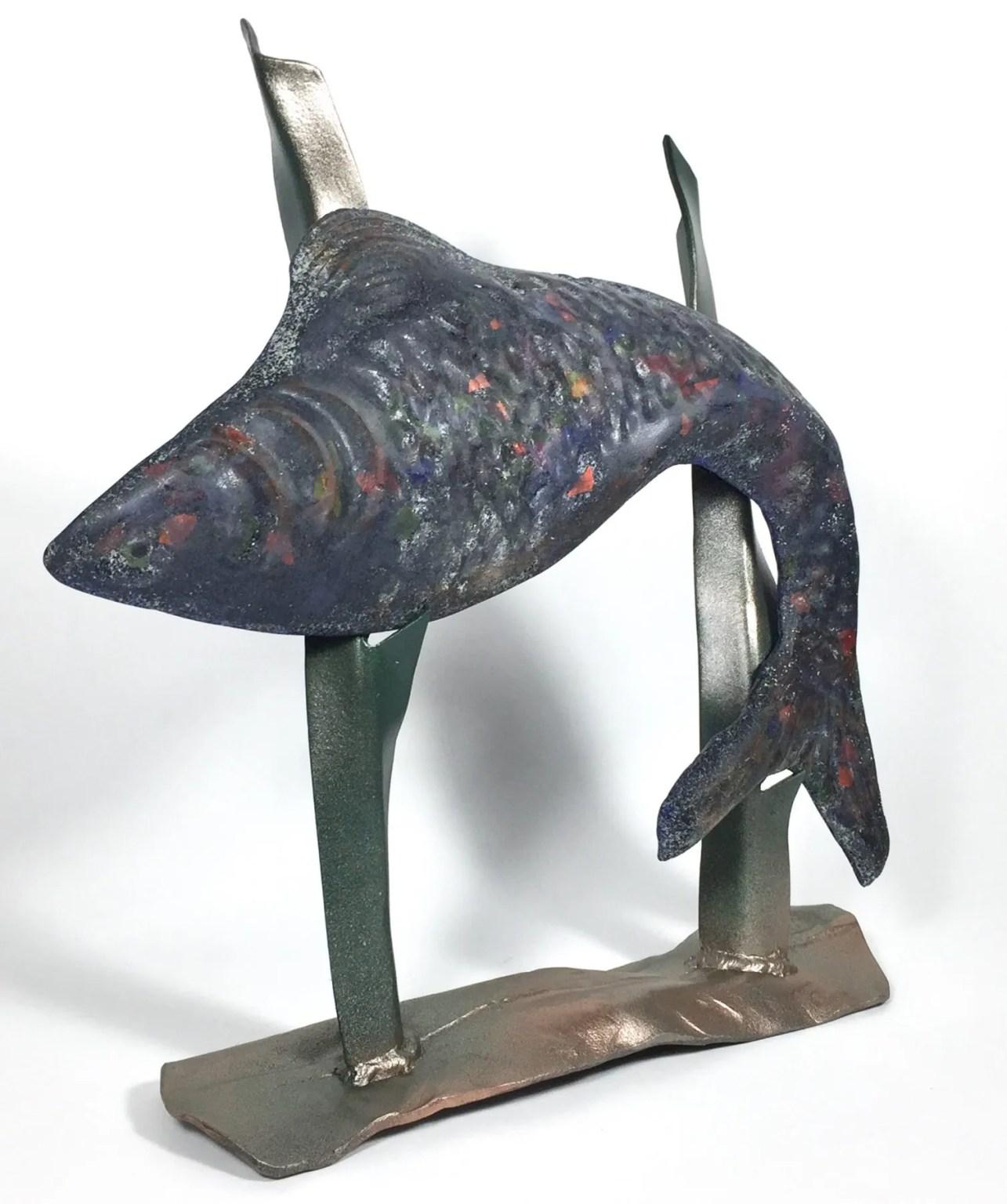 Koi Fish in Seaweed Sculpture by Dori and Jim Settles