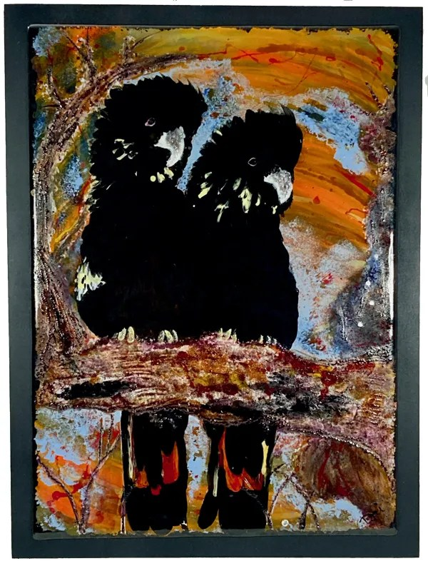 Glossy Black Cockatoo Painting Mounted
