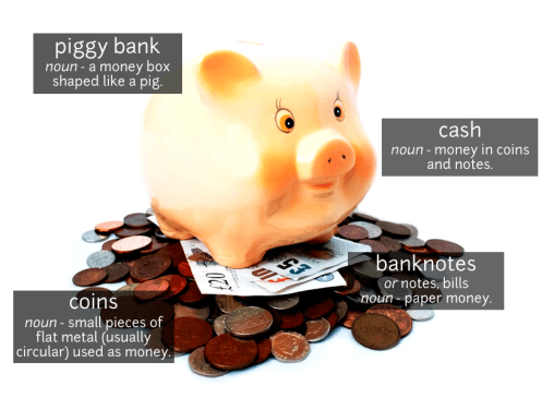piggy bank vocabulary