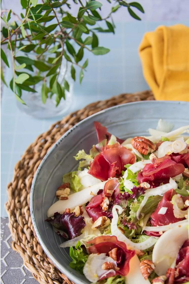 Salade met venkel, bresaola en peer