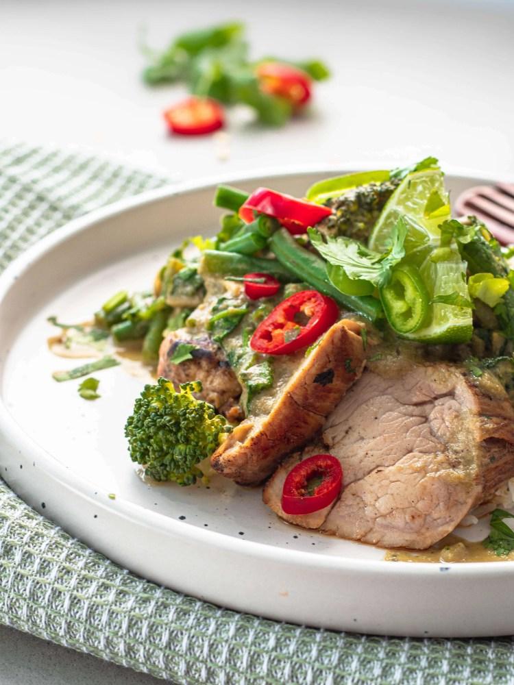 Thaise groene curry met varkenshaas