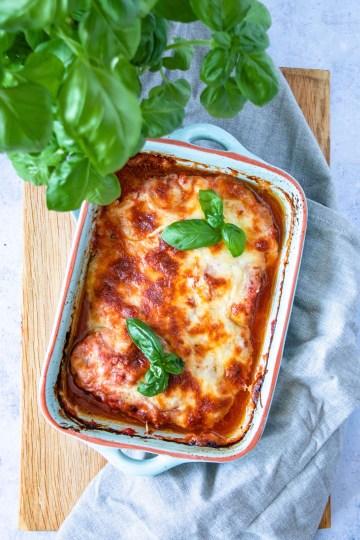 Kip met mozarella en Parmezaanse kaas