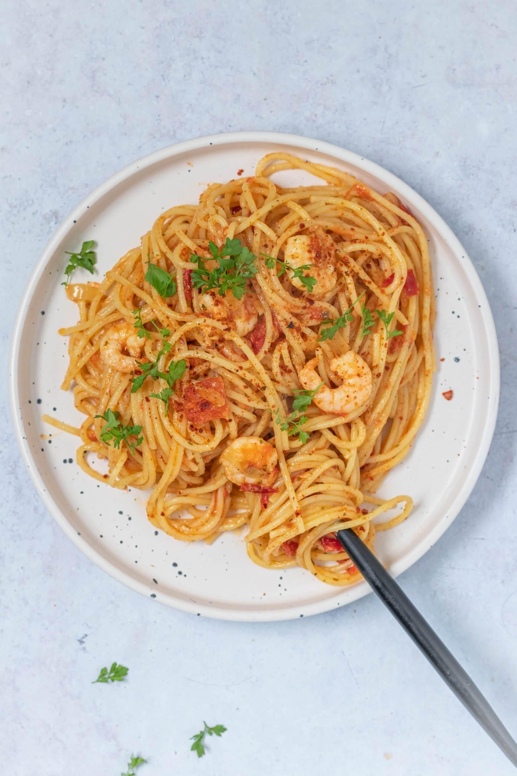 Pasta met garnalen en knoflook