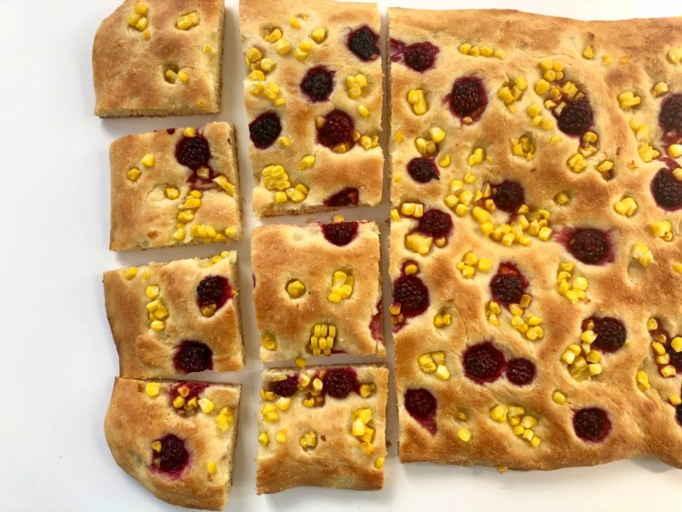 Corn Focaccia with Pickled Blackberries Thumbnail 2