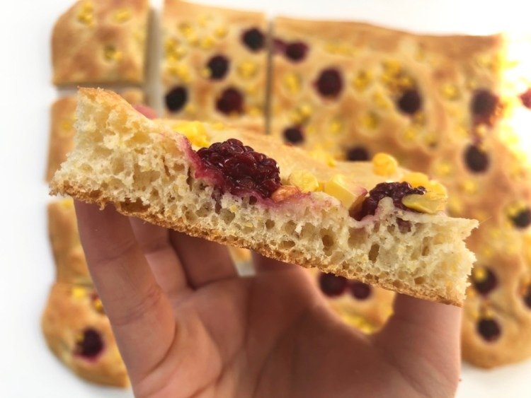 Corn Focaccia with Pickled Blackberries 5