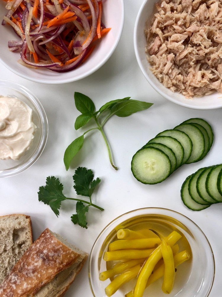 Tuna Banh Mi Sandwich with Pickled Yellow Beans Prepped Ingredients