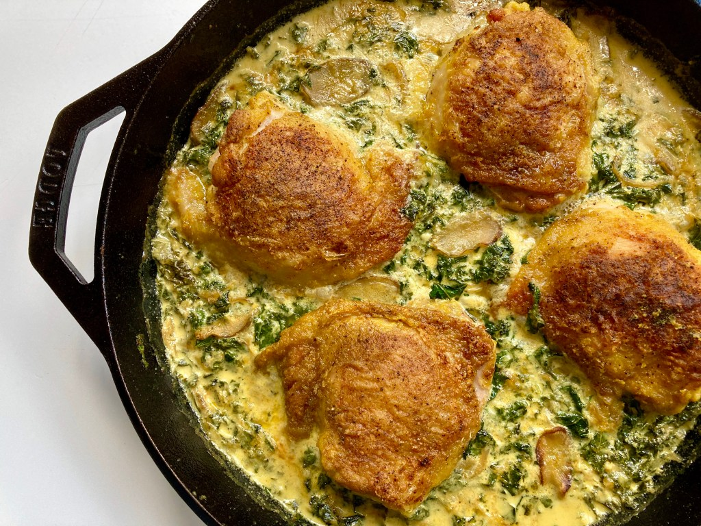 cast-iron chicken with kale and burdock curried cream