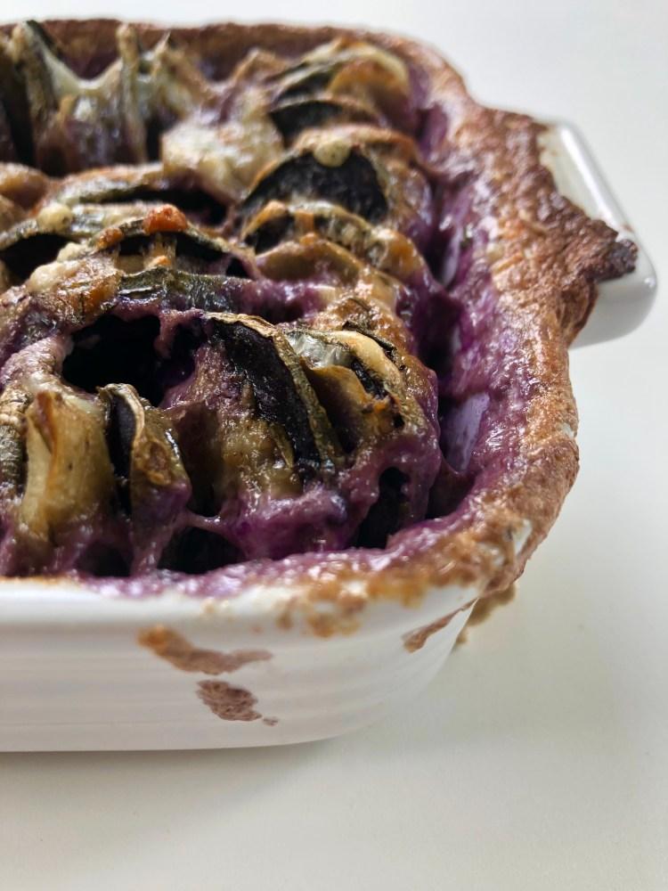 hassleback purple potato and burdock root gratin