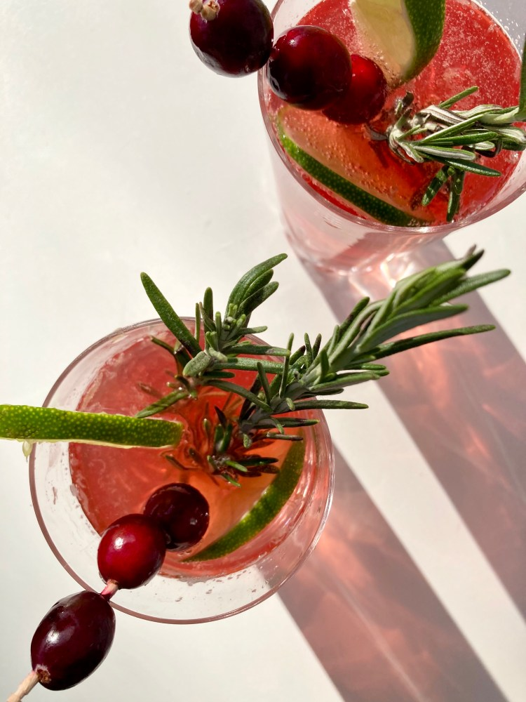 Ouzo Cranberry Spritz Cocktail food photography