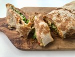 markouk sandwich wrap with vegetables and hummus
