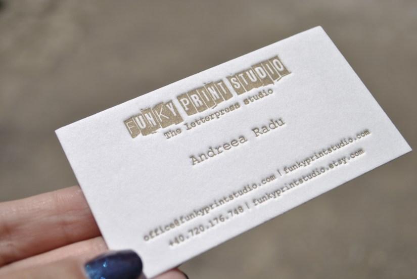 gold custom letterpress business cards