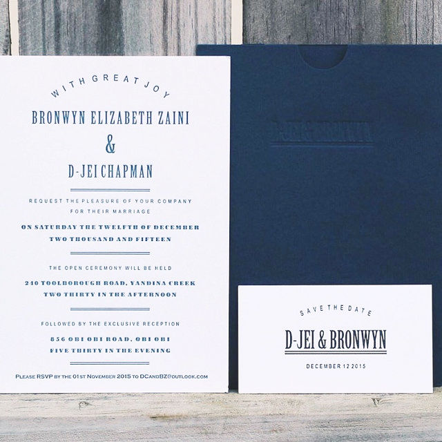 letterpress wedding set