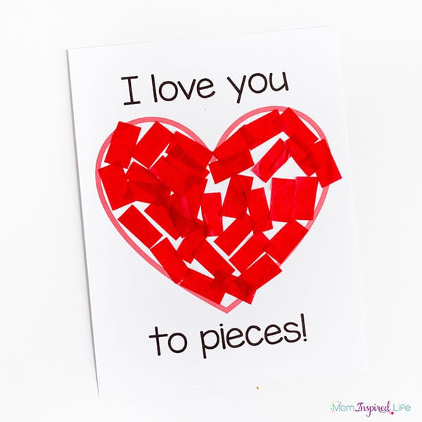 I Love You To Pieces Valentines Day Craft Activity