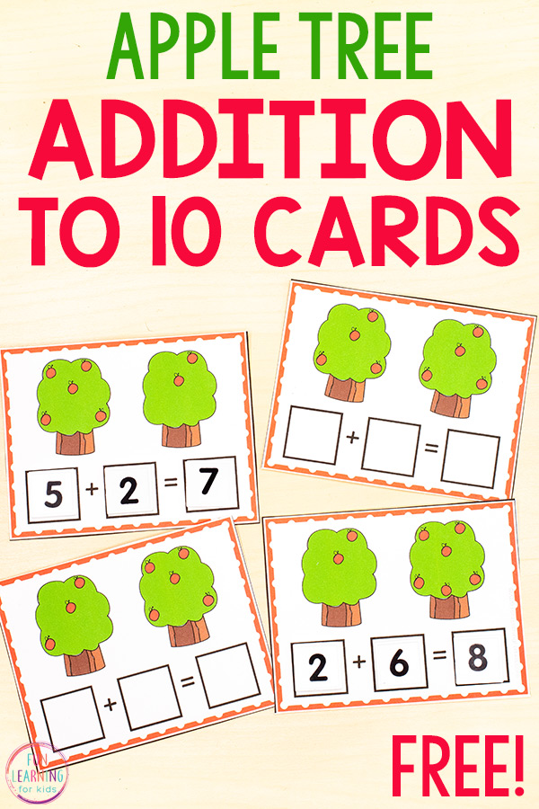 Free printable apple tree addition to 10 cards. Count apples on both trees and then create a number sentence with number tiles.