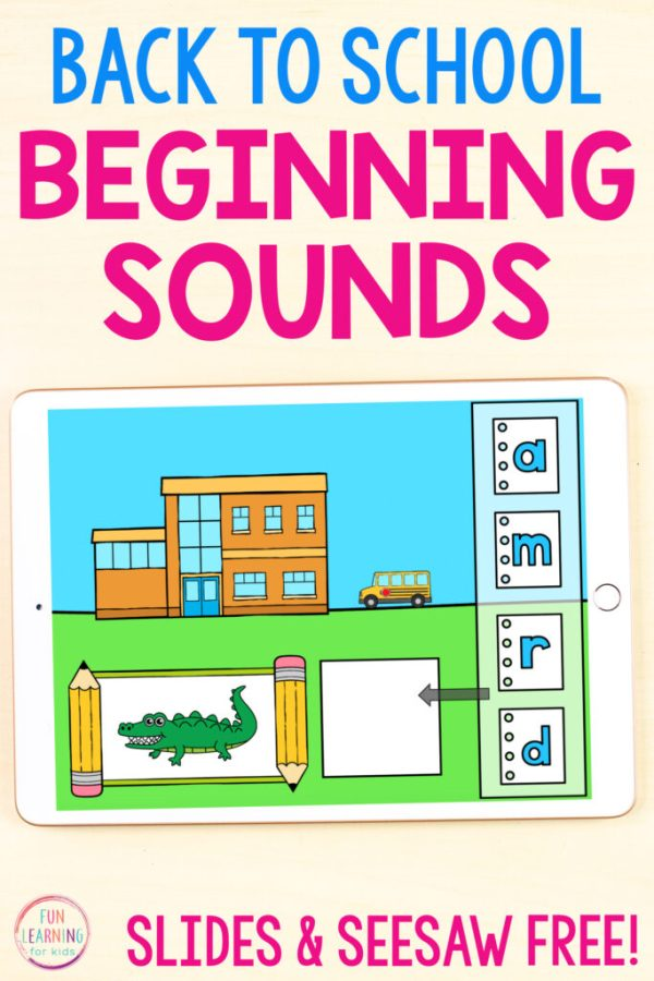 A fun back to school theme beginning sounds activity for students to use on Seesaw and Google Slides.