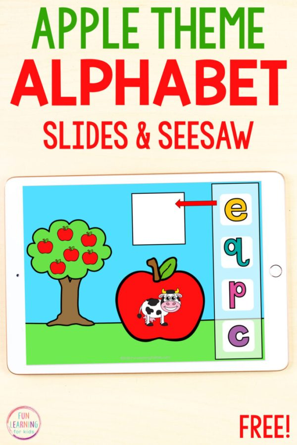 Free apple beginning sounds activity for Google Slides and Seesaw.