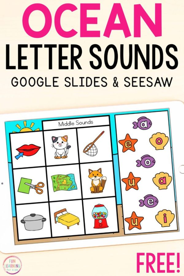 A free ocean themed letter sound isolation activity for beginning, middle and ending sounds.