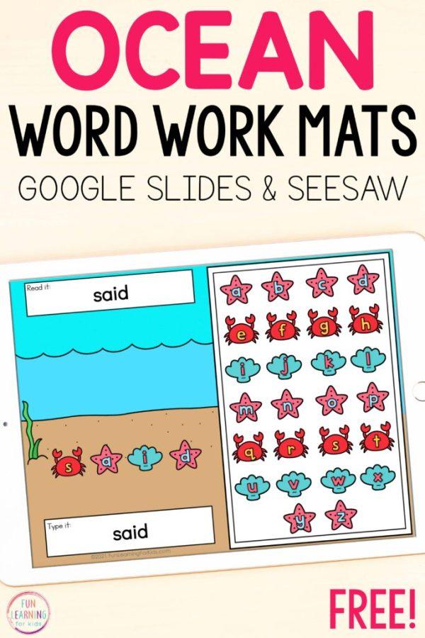 Free digital ocean word work activity mats for literacy centers.