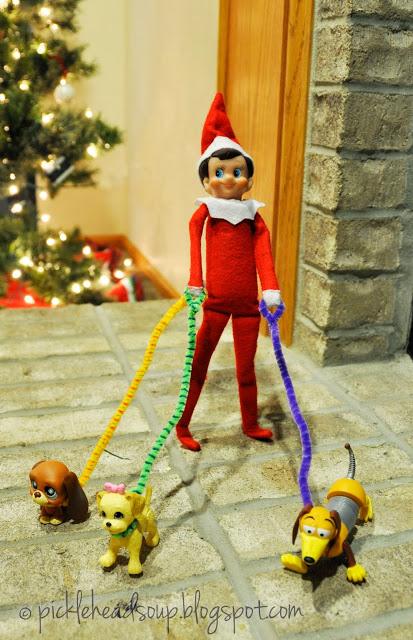Elf On The Shelf Ideas - dog walking elf