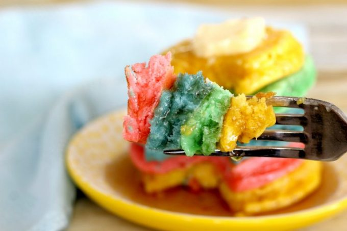 Not only are these easy rainbow pancakes tasty, they're pretty to look at