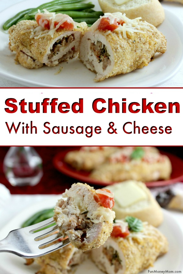 Stuffed Chicken - This Italian Chicken with sausage & cheese is a delicious stuffed chicken recipe the family will love! Change up your regular dinner recipe with this yummy idea! #chicken #chickenrecipe #stuffedchicken #dinnerrecipe #dinner