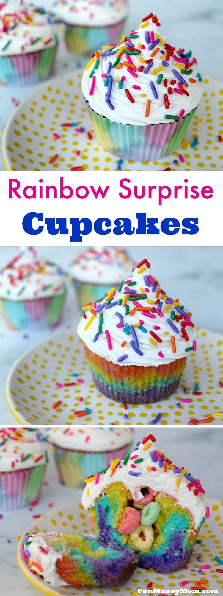 Looking for a fun cupcake treat? These Rainbow Surprise Cupcakes are great for birthdays, St. Patrick's Day or just about any other special occasion you can think of!