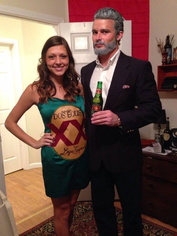 Most Interesting Man with beer is a pretty creative couple costume idea