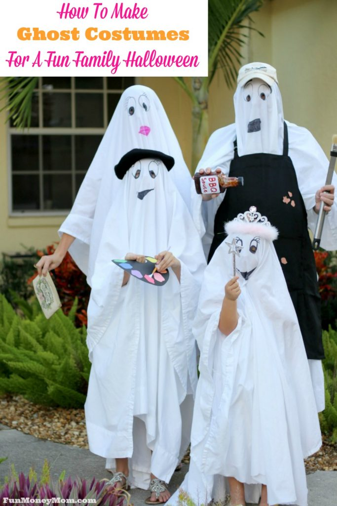Want simple and budget friendly Halloween costumes for your family this year? These ghost costumes are easy, inexpensive and most importantly, fun! #catchmoredata #ghostbusters #ad @familymobile