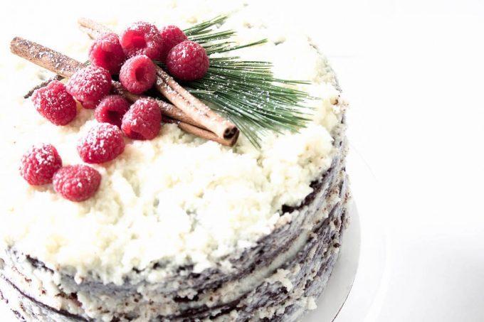 Chocolate Raspberry Christmas Cake