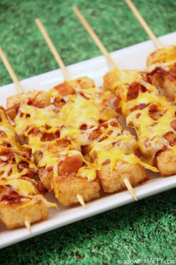 Football food doesn't get much better than tater tots on a stick