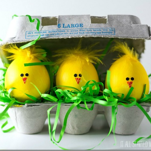 Fuzzy chick Easter egg decorating ideas