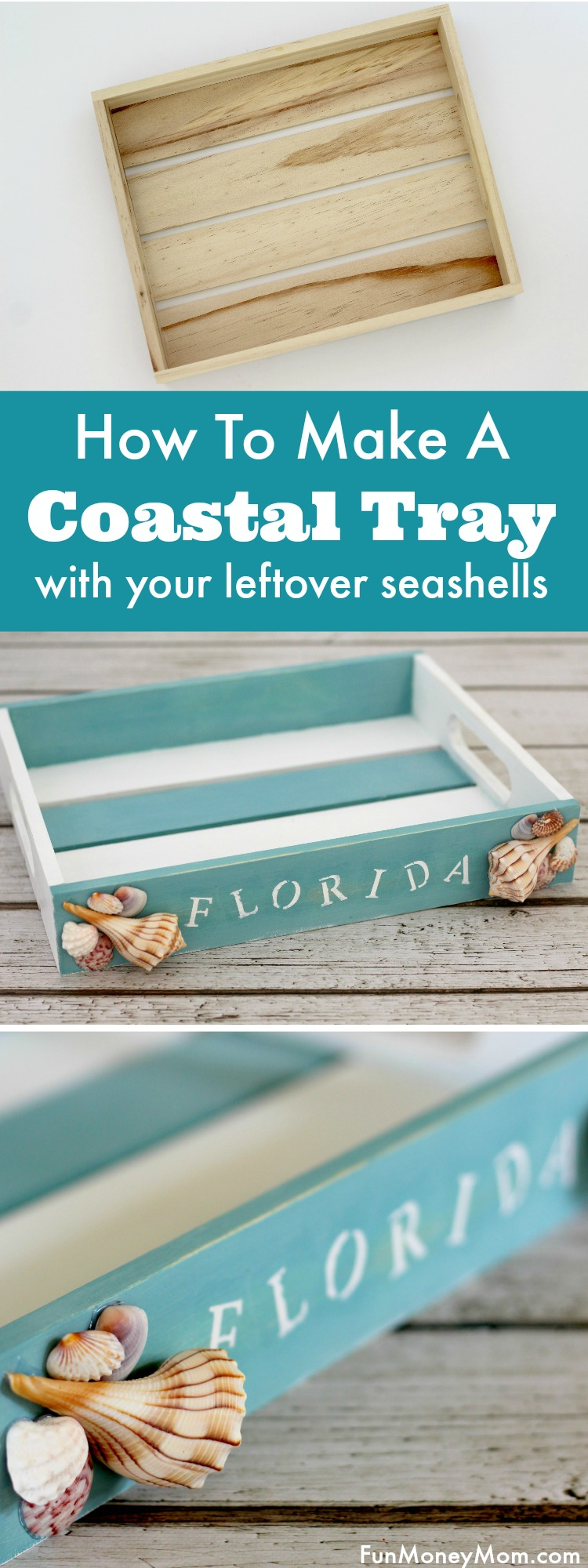 Trying to figure out what to do with all those pretty seashells you found at the beach? Why not make this cute, and useful, coastal tray!