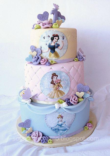 Disney princess cakes with Snow White, Belle & Cinderella