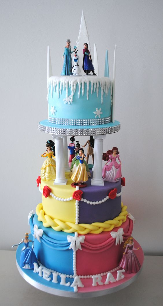 Birthday cake with Disney princesses