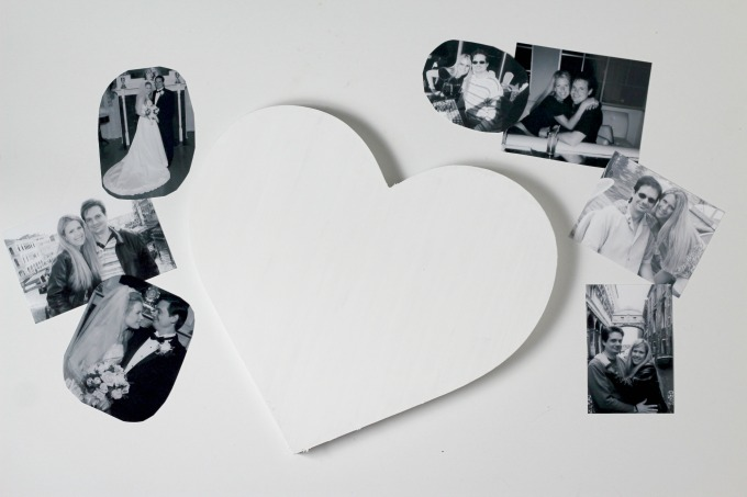 Paint the heart with white acrylic paint