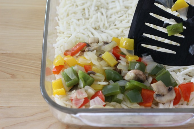 Spread the veggies over the hashbrowns